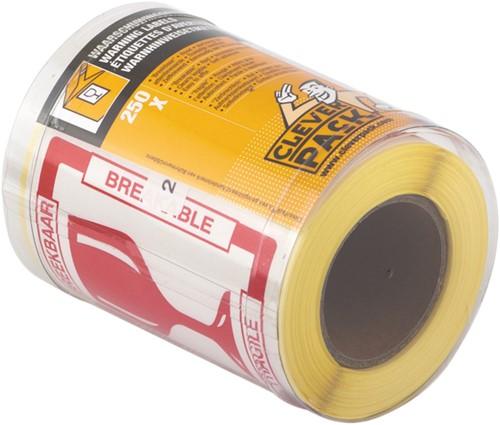 Etiket CleverPack tekst breekbaar 80x100mm wit/rood