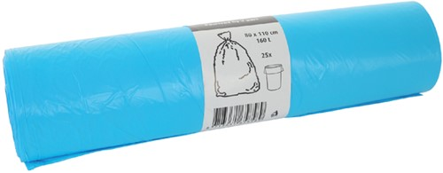 Afvalzak Cleaninq 80x110cm 16micron 160liter blauw 25 stuks