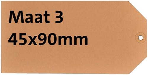 Label karton nr3 200gr 45x90mm chamois 1000stuks