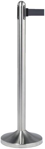 Afzetpaal Securit RVS met rolband 210cm zwart