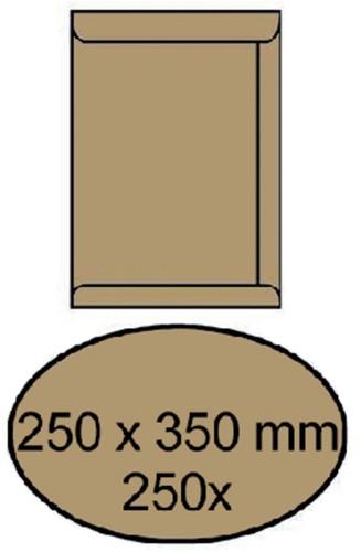 Envelop akte 250x350mm zelfklevend 90gr bruin 250stuks
