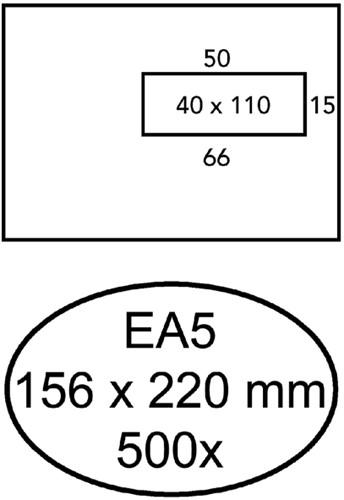 Envelop Hermes EA5 156x220mm venster 4x11 rechts zelfkl 500st