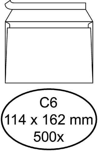 Envelop Quantore bank C6 114x162mm zelfklevend wit 500stuks