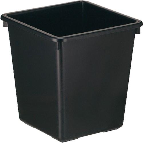 Papierbak kunststof vierkant taps 27liter zwart