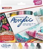 Acrylmarker 3D double liner edding e-5400 medium set van 5 kleuren basis