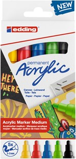 Acrylmarker edding e-5100 medium set van 5 kleuren basis
