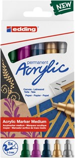 Acrylmarker edding e-5100 medium set van 5 kleuren metallic