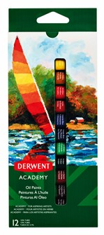 Olieverf Derwent Academy blister à 12 tubes à 12ml assorti