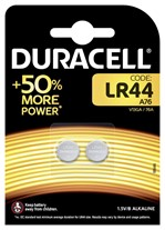 Batterij Duracell knoopcel LR44 alkaline Ø11,6mm 2 stuks