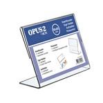 Kaarthouder OPUS 2 L-standaard 90x60mm liggend acryl