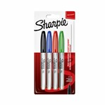 Viltstift Sharpie rond 0.9mm assorti blister à 4 stuks