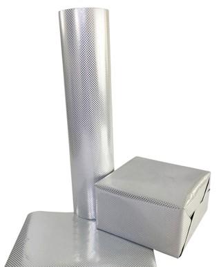 Apparaatrol zilver met stippen 100mx50cm