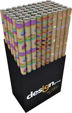 Inpakpapier Design Group 150x70cm hotstamp kraft bruin regenboog doos à 36 rol assorti
