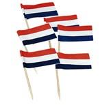 Cocktailprikker vlaggetjes rood/wit/blauw zak à 50 stuks