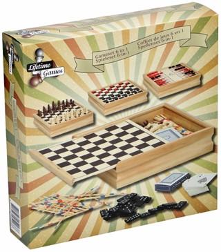 Spellendoos Lifetime Games incl 6 spellen hout 20x20x4,5cm