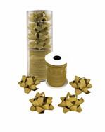 Cadeaulint & strik glitter goud 4 strikken en 1 spoel in een koker