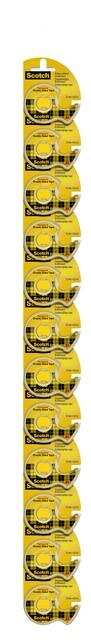 Dubbelzijdige plakband Scotch 665 12mmx6.3m + dispenser clipstrip