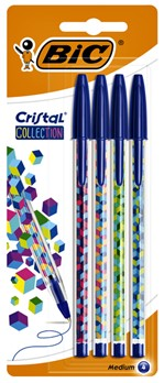 Balpen Bic Cristal assorti medium Fun Collection blister à 4 stuks