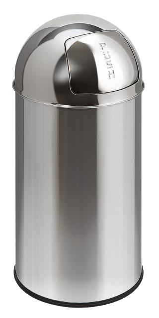 Afvalbak Pushcan chroom met pushdeksel 40liter