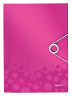 Elastomap Leitz WOW 3-kleps A4 PP roze