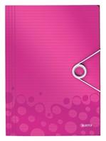 Elastomap Leitz WOW 3kleps A4 PP roze