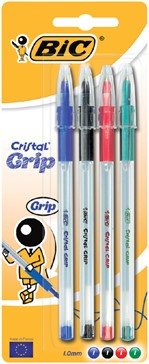 Balpen Bic Cristal grip assorti medium blister à 4st