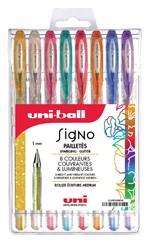 Gelschrijver Uni-ball Signo glitter etui à 8 kleuren