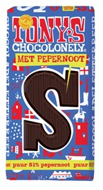 Chocolade Tony's Chocolonely puur pepernoot S 180gr