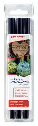 Kalligrafiepen edding 1255 zwart 3 lijndiktes blister à 3st